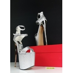 Silver Metallic Double Strap High Heels 2