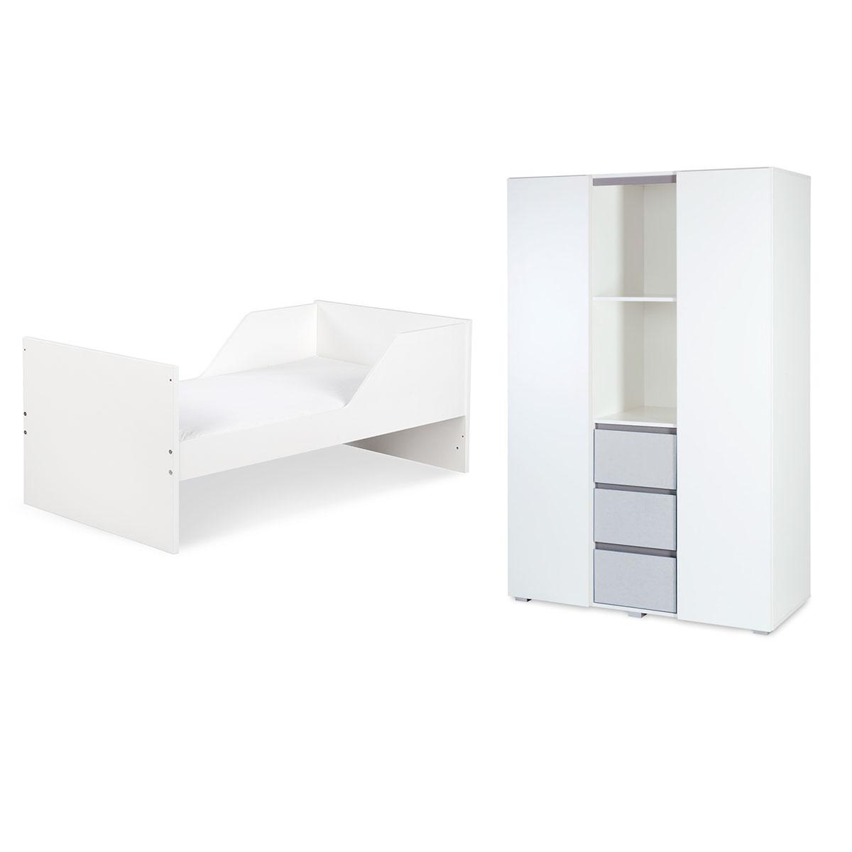 Lit évolutif 70x140 et armoire 3 portes LittleSky by Klups Dalia - Blanc