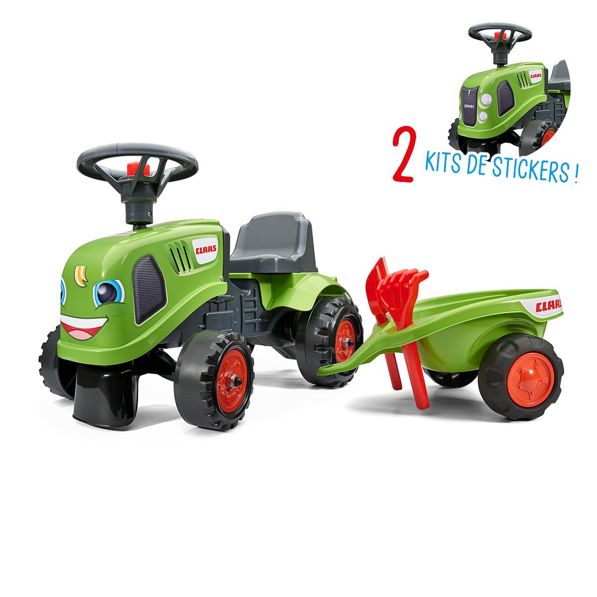 Porteur Falk tracteur Claas avec remorque - pelle et rateau - Vert