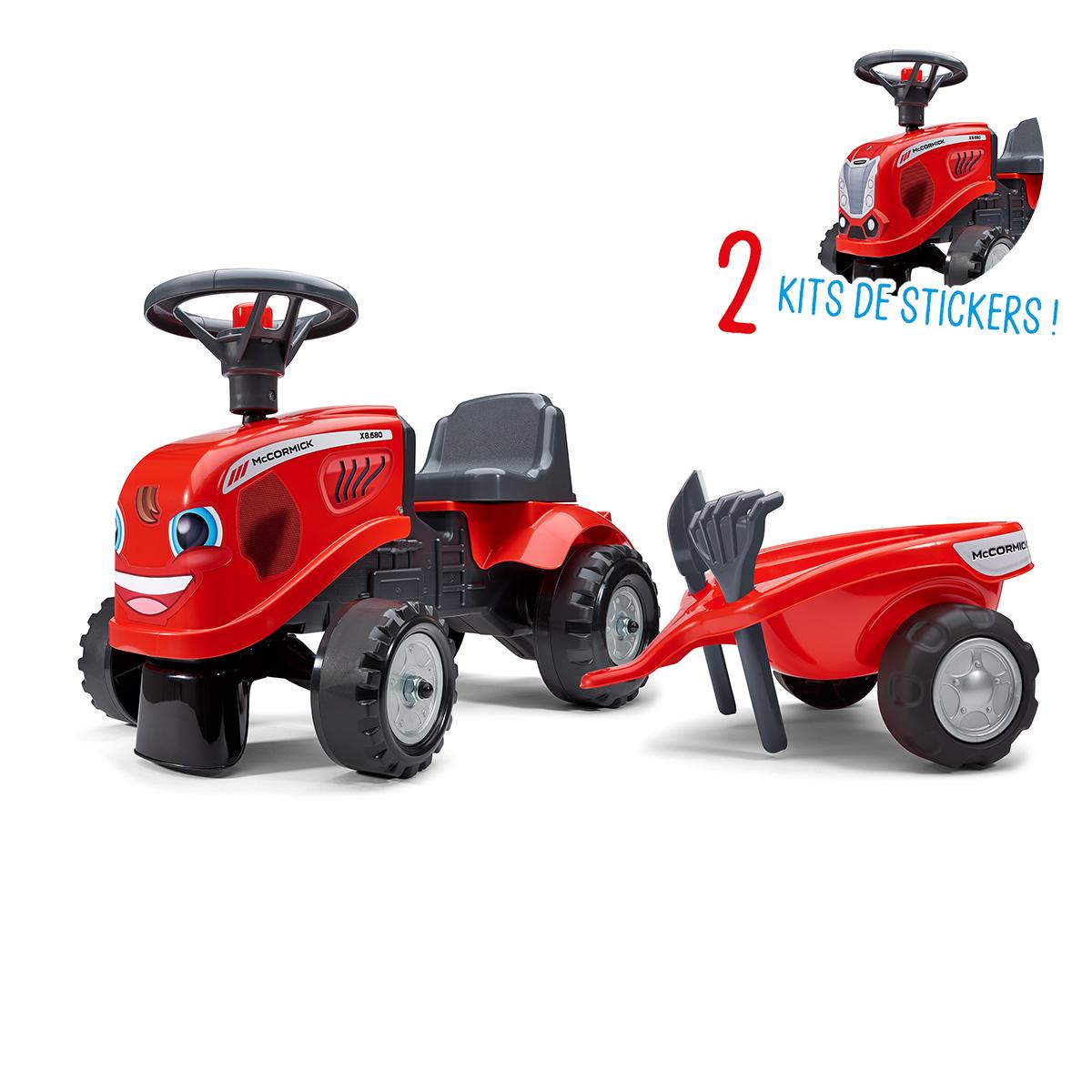 Porteur Falk tracteur Mc Cormick avec remorque - pelle et rateau - Rouge