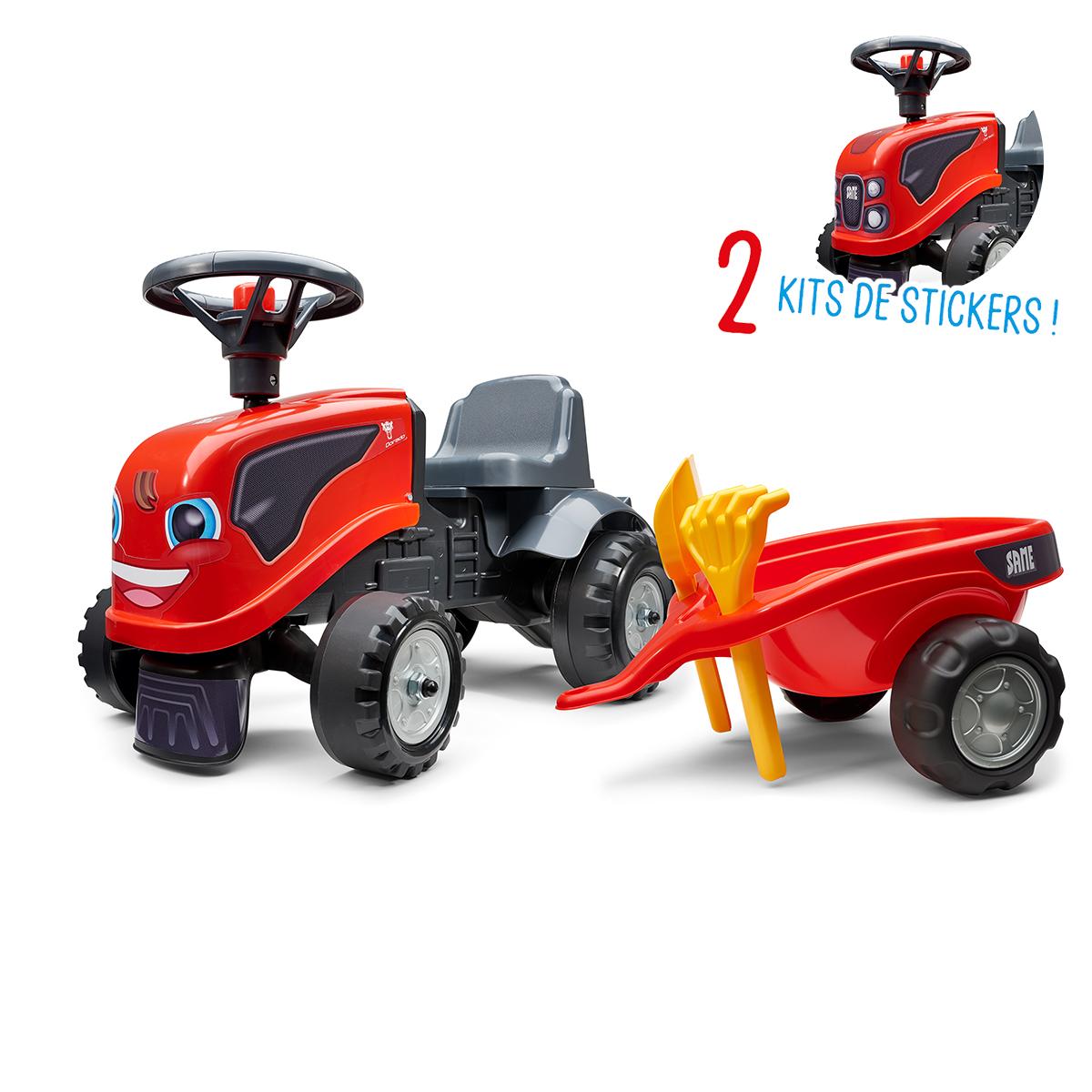 Porteur Falk tracteur Same avec remorque - pelle et rateau - Rouge