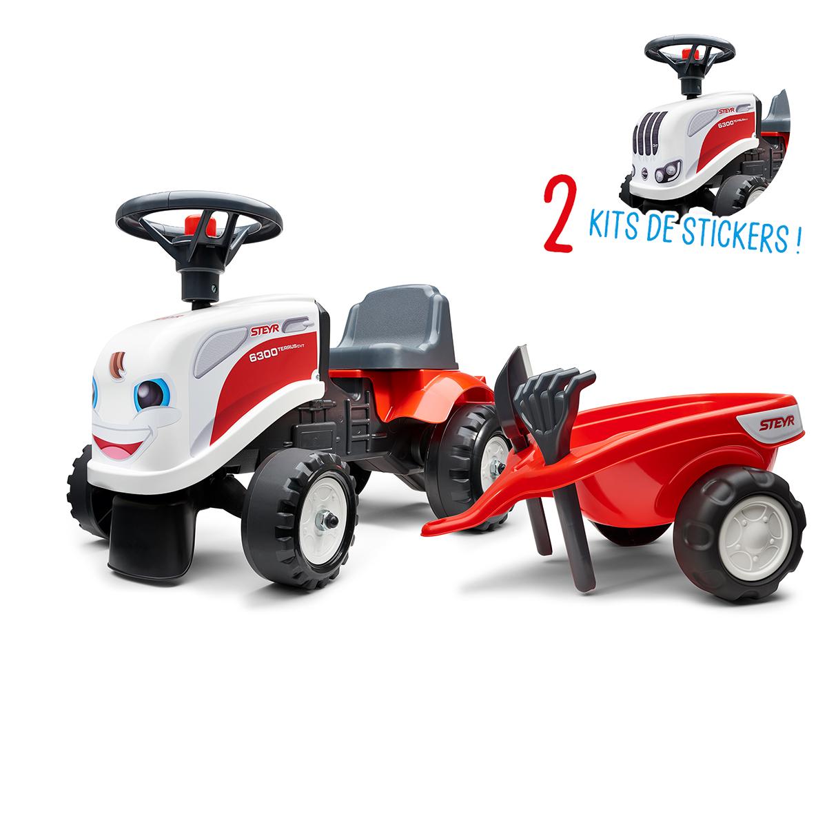 Porteur Falk tracteur Steyr avec remorque - pelle et rateau - Blanc