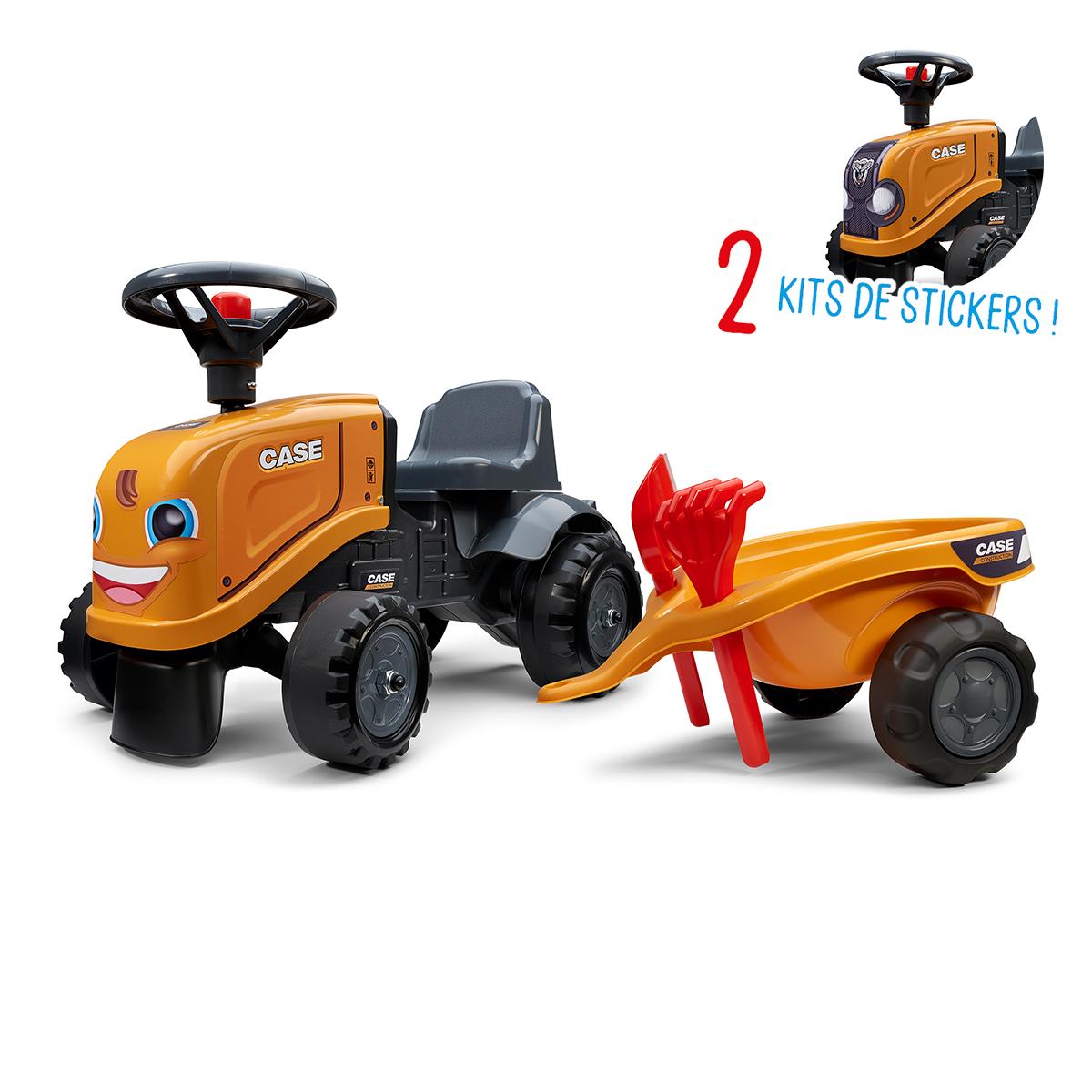 Porteur Falk tracteur Case CE avec remorque - pelle et rateau - Orange