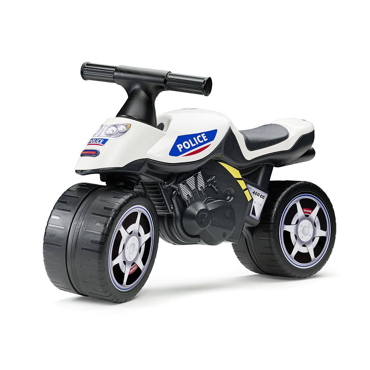 Porteur Falk Baby Moto Police - Blanc et Bleu