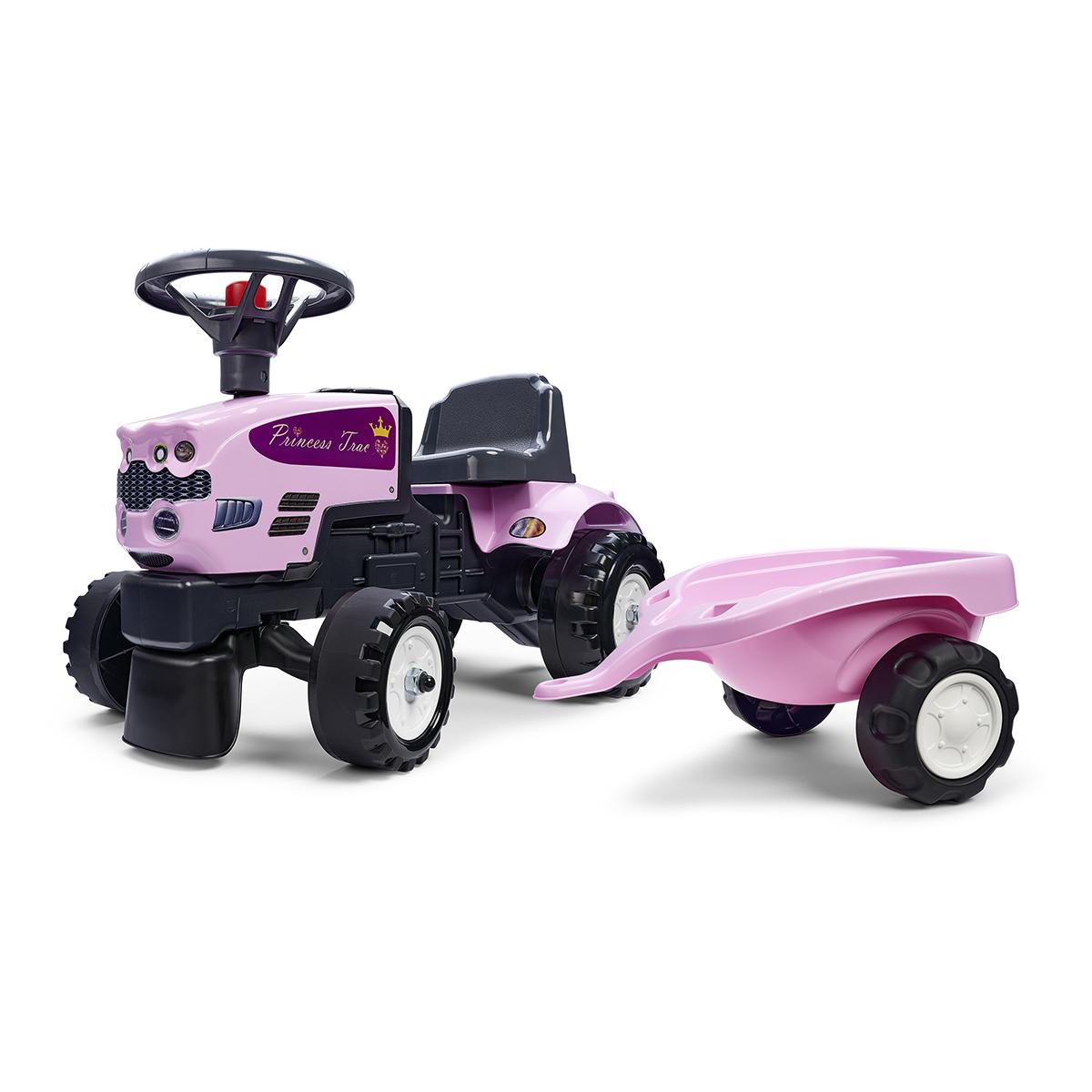 Porteur Falk Tracteur Princess Trac avec remorque - Rose