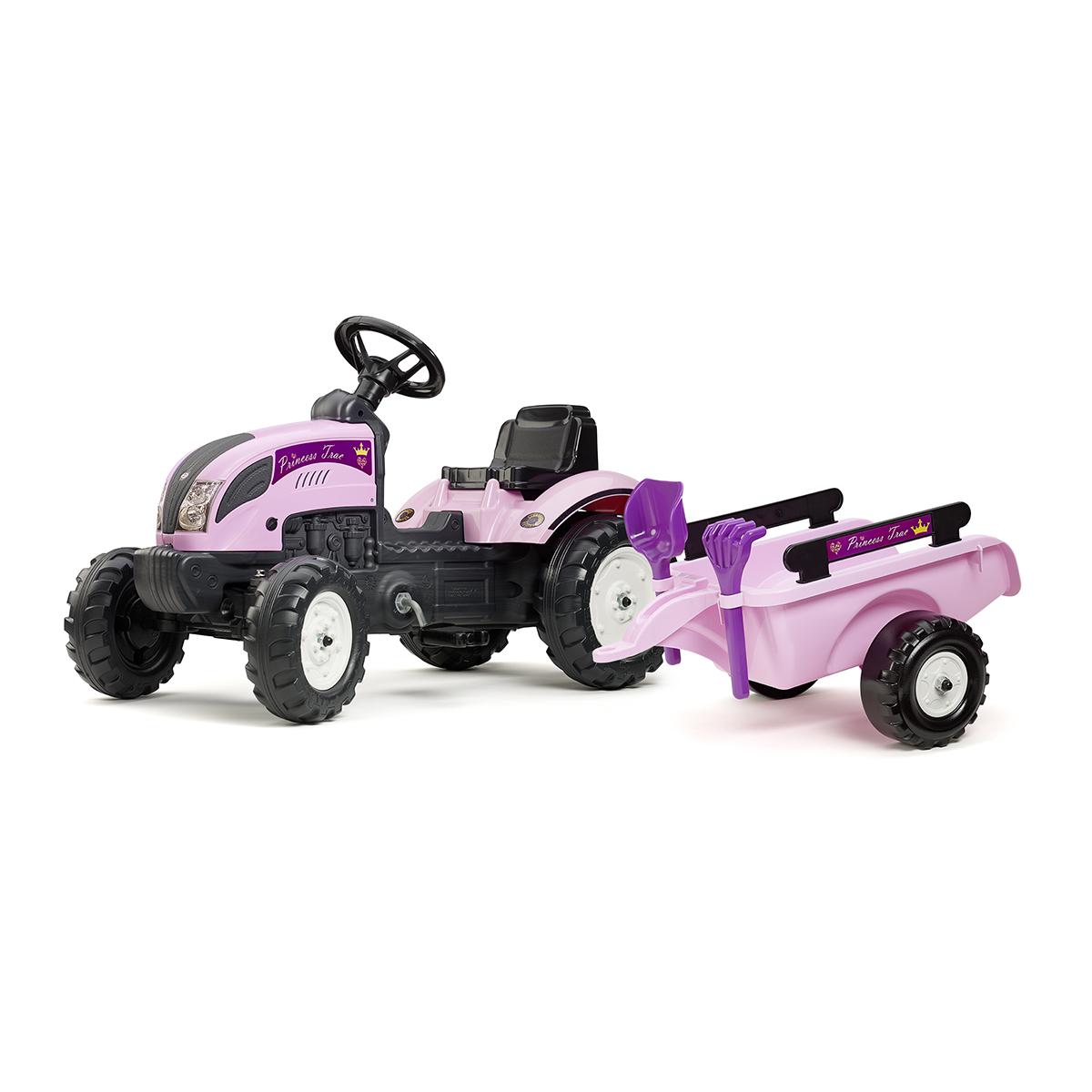 Tracteur à pédales Falk Princess Trac avec remorque - pelle et râteau inclus - Rose
