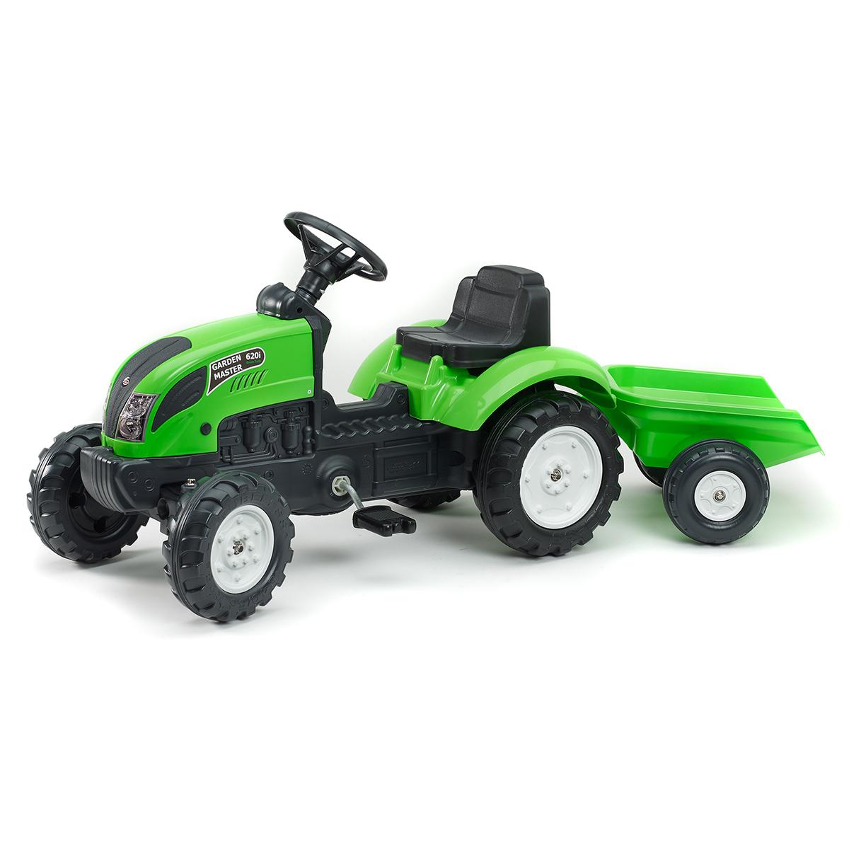 Tracteur à pédales Falk Garden Master avec remorque - Vert