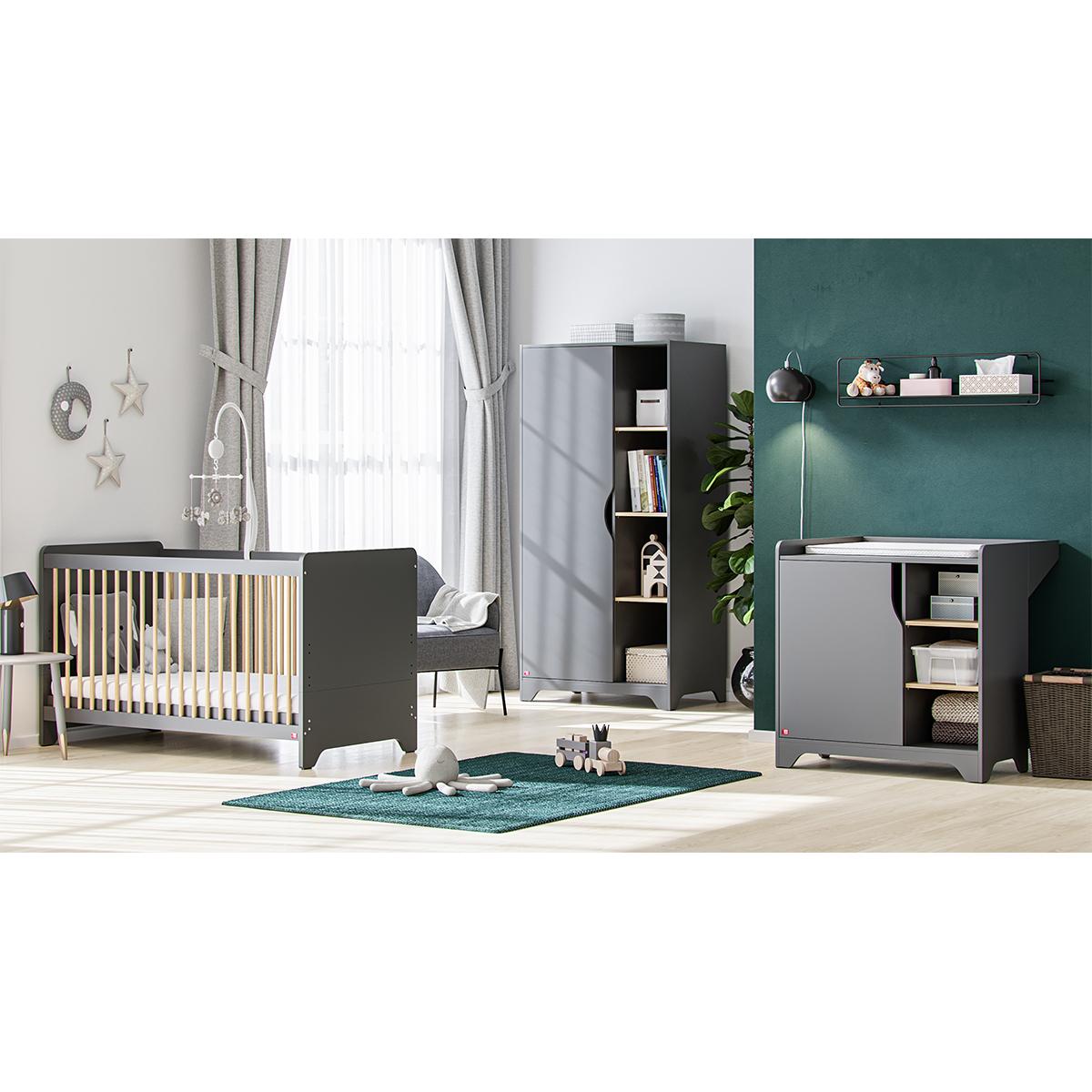 Chambre complète lit bébé 60x120 - commode à langer - armoire 1 porte Vox Leaf - Gris et bois