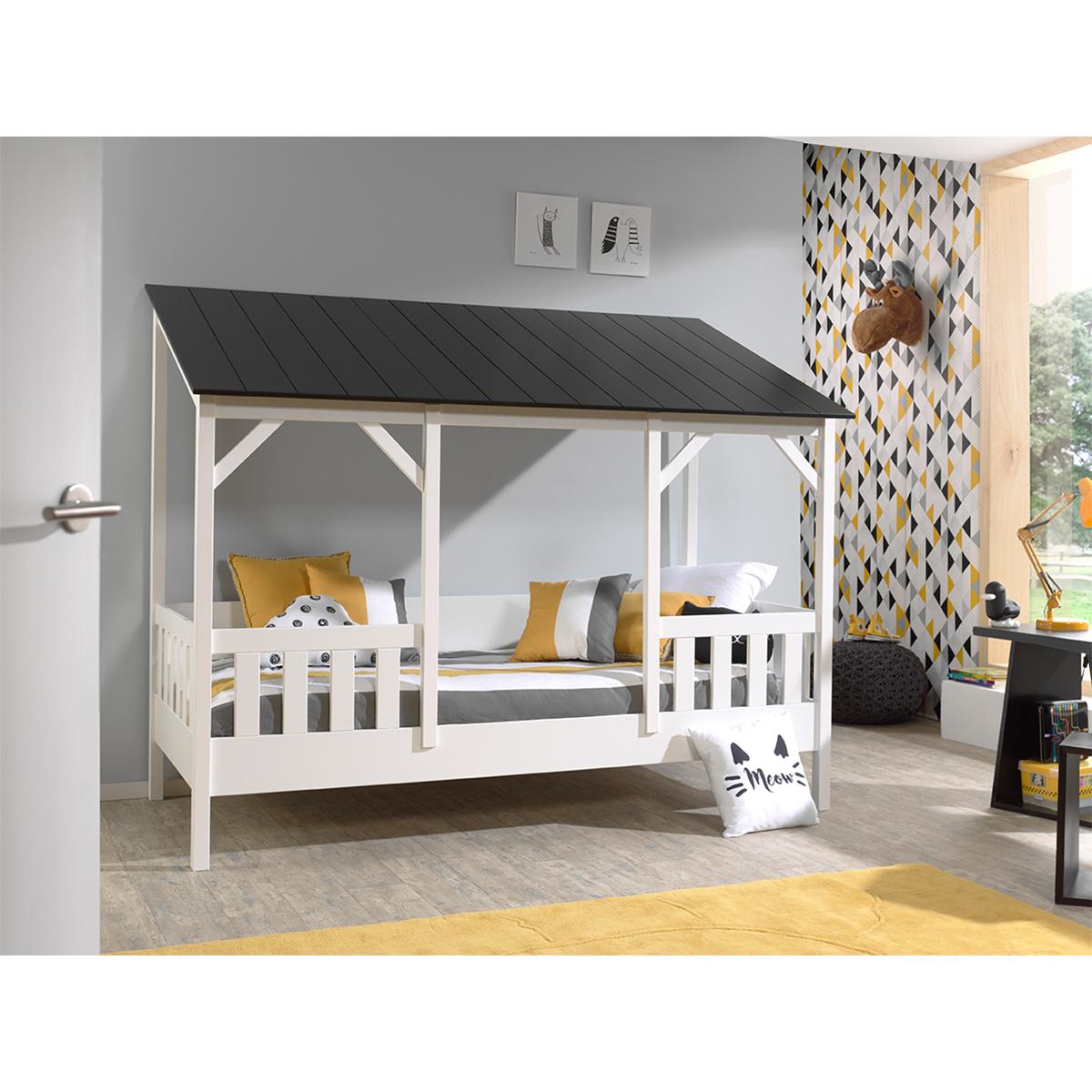 Lit Cabane 90x200 Sommier inclus Vipack HouseBed - Blanc et Noir