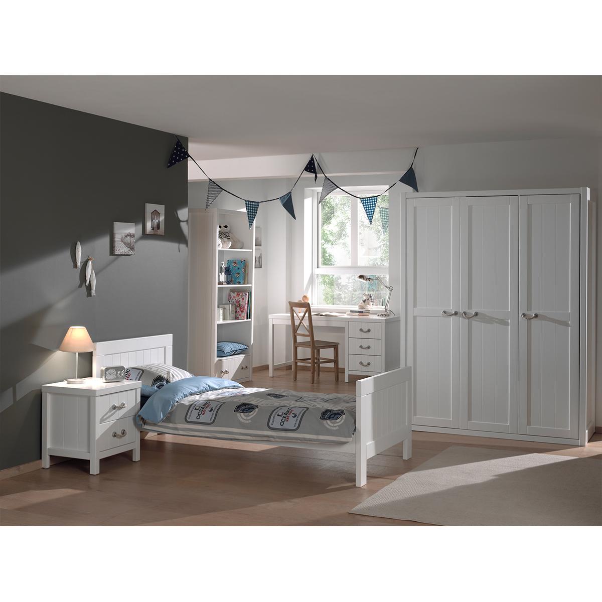Lit 90x200 - Chevet 2 tiroirs - Armoire 3 portes - Bureau et Bibliothèque Vipack Lewis - Blanc