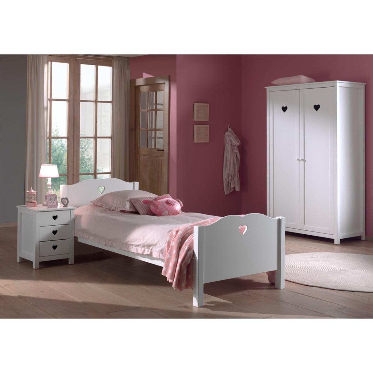 Lit 90x200 - Chevet 3 tiroirs et Armoire 2 portes Vipack Amori - Blanc