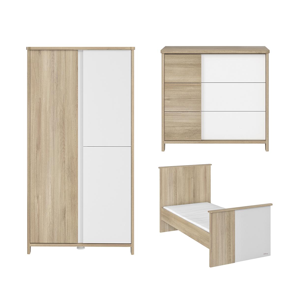 Chambre complète lit évolutif 70x140 - commode 3 tiroirs et armoire 3 portes Galipette Sacha - Chêne et blanc