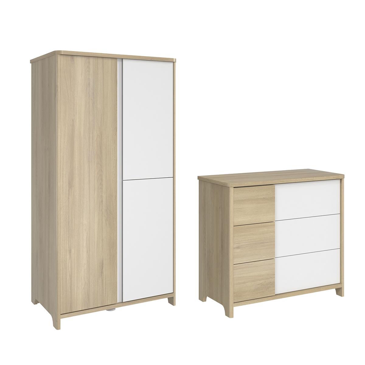 Commode 3 tiroirs et armoire 3 portes Galipette Sacha - Chêne et blanc