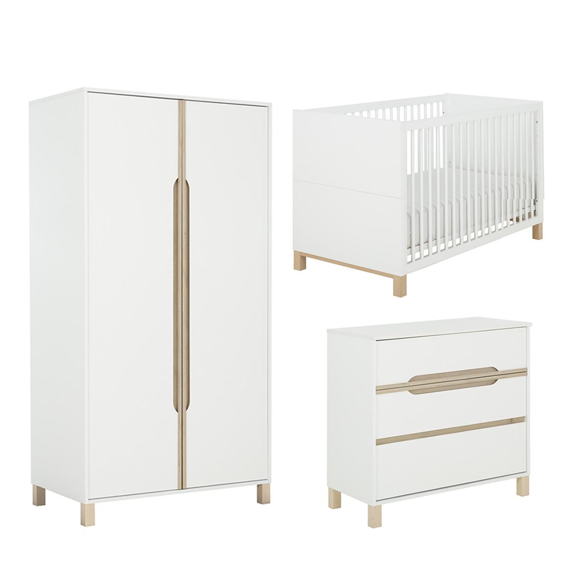 Chambre complète Lit évolutif 70x140 avec 2 pans inclus - commode 3 tiroirs - armoire 2 portes Galipette Celeste - Blanc