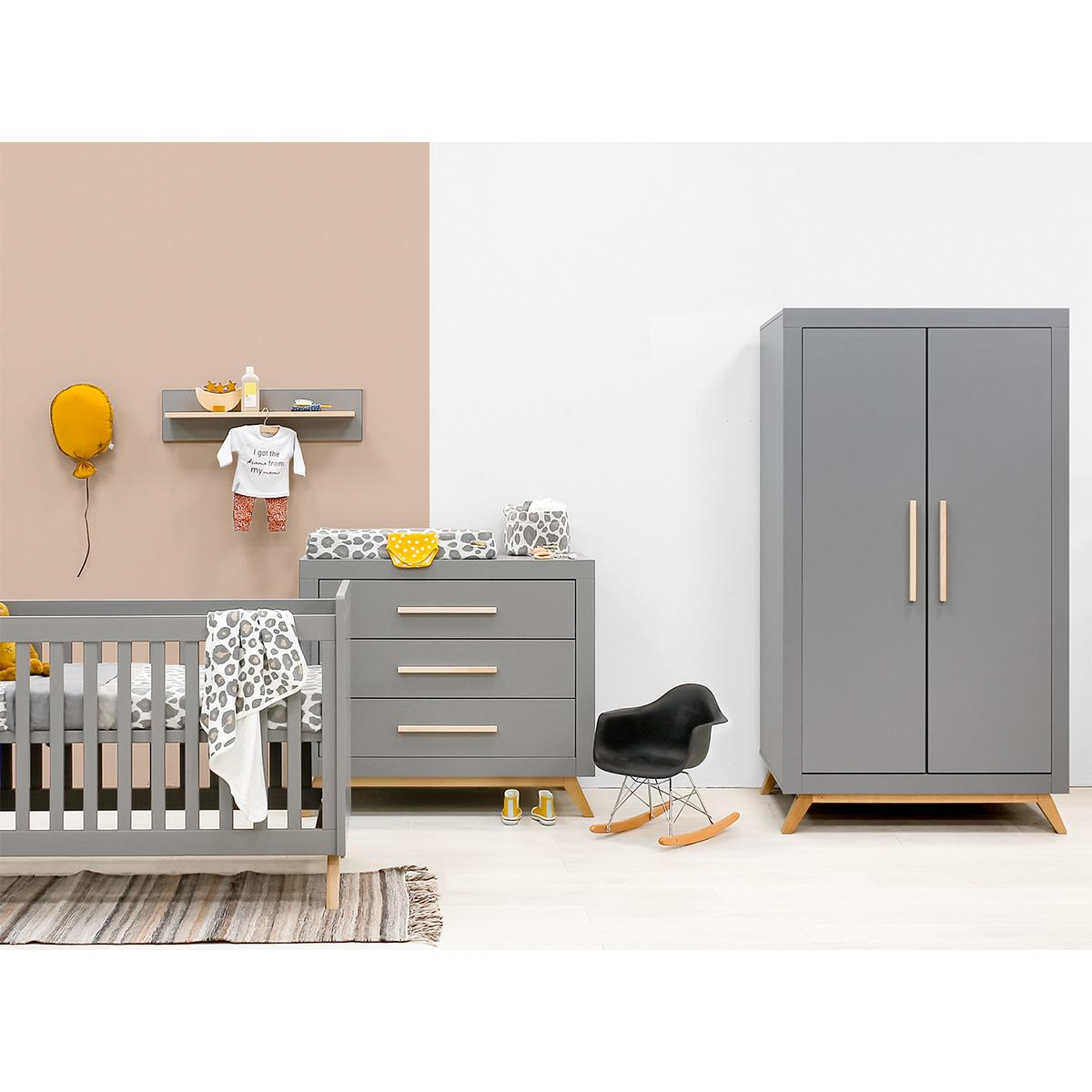 Chambre complète lit bébé 60x120 - commode à langer - armoire 2 portes Bopita Fenna - Gris et bois