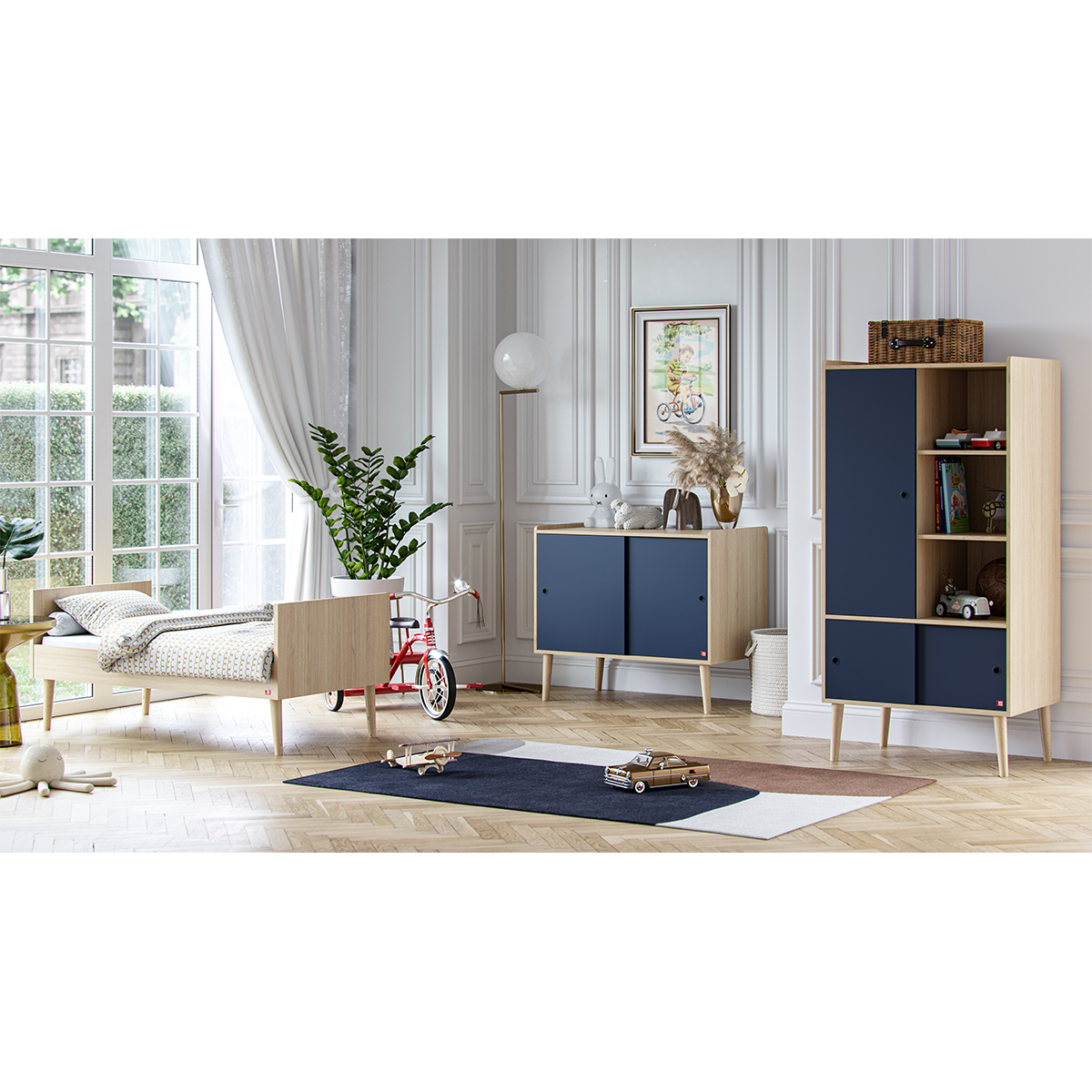 Chambre complète lit évolutif 70x140 - commode et armoire 1 porte Vox Retro - Bois Bleu