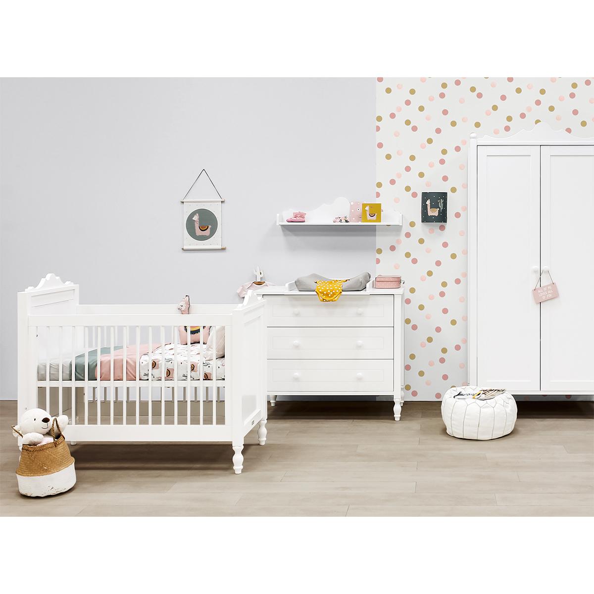 Chambre complète lit évolutif 70x140 - commode à langer - armoire 2 portes Bopita Belle - Blanc