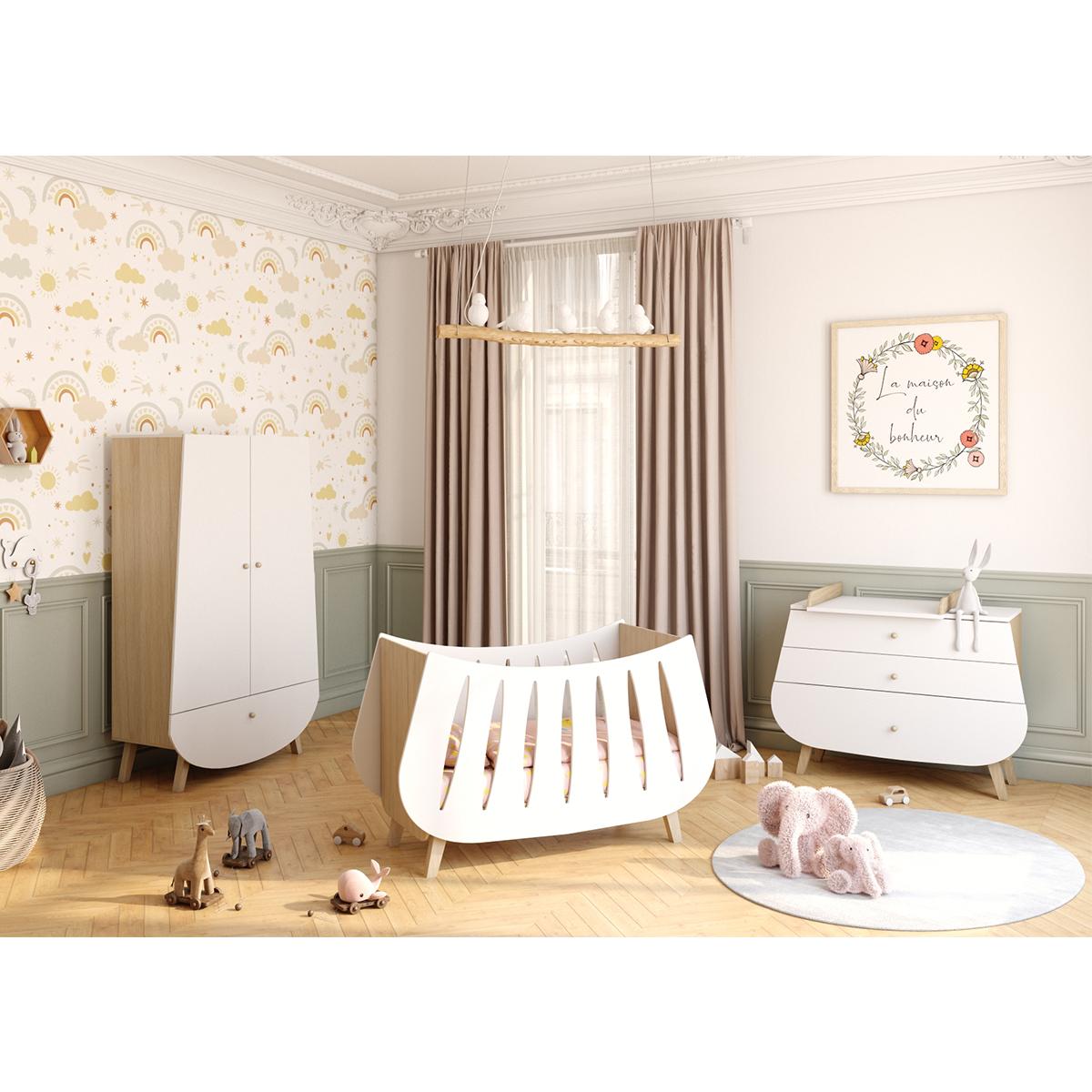 Chambre complète lit bébé 60x120 commode à langer et armoire Songes et Rigolades Trapèze - Blanc et bois