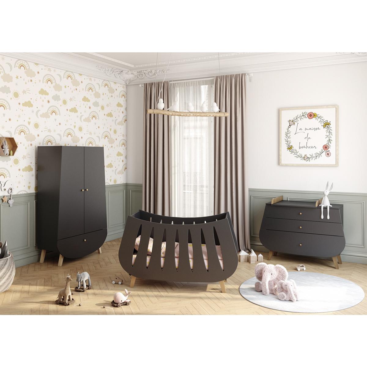 Chambre complète lit bébé 60x120 commode à langer et armoire Songes et Rigolades Trapèze - Gris anthracite