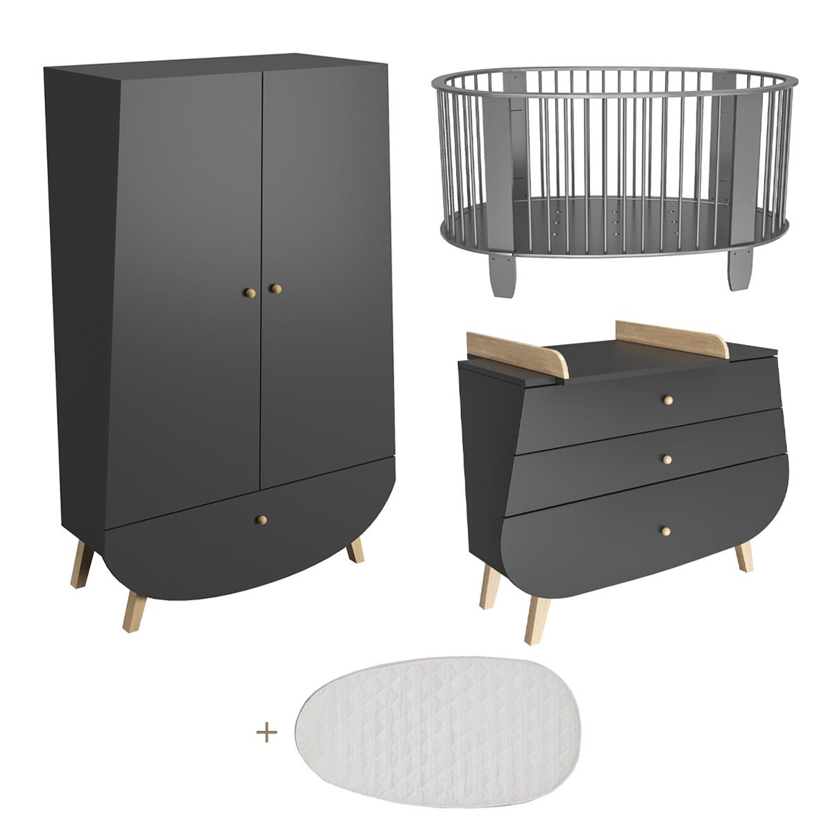 Chambre complète lit bébé 60x120 commode à langer et armoire Songes et Rigolades Cocon - Gris anthracite