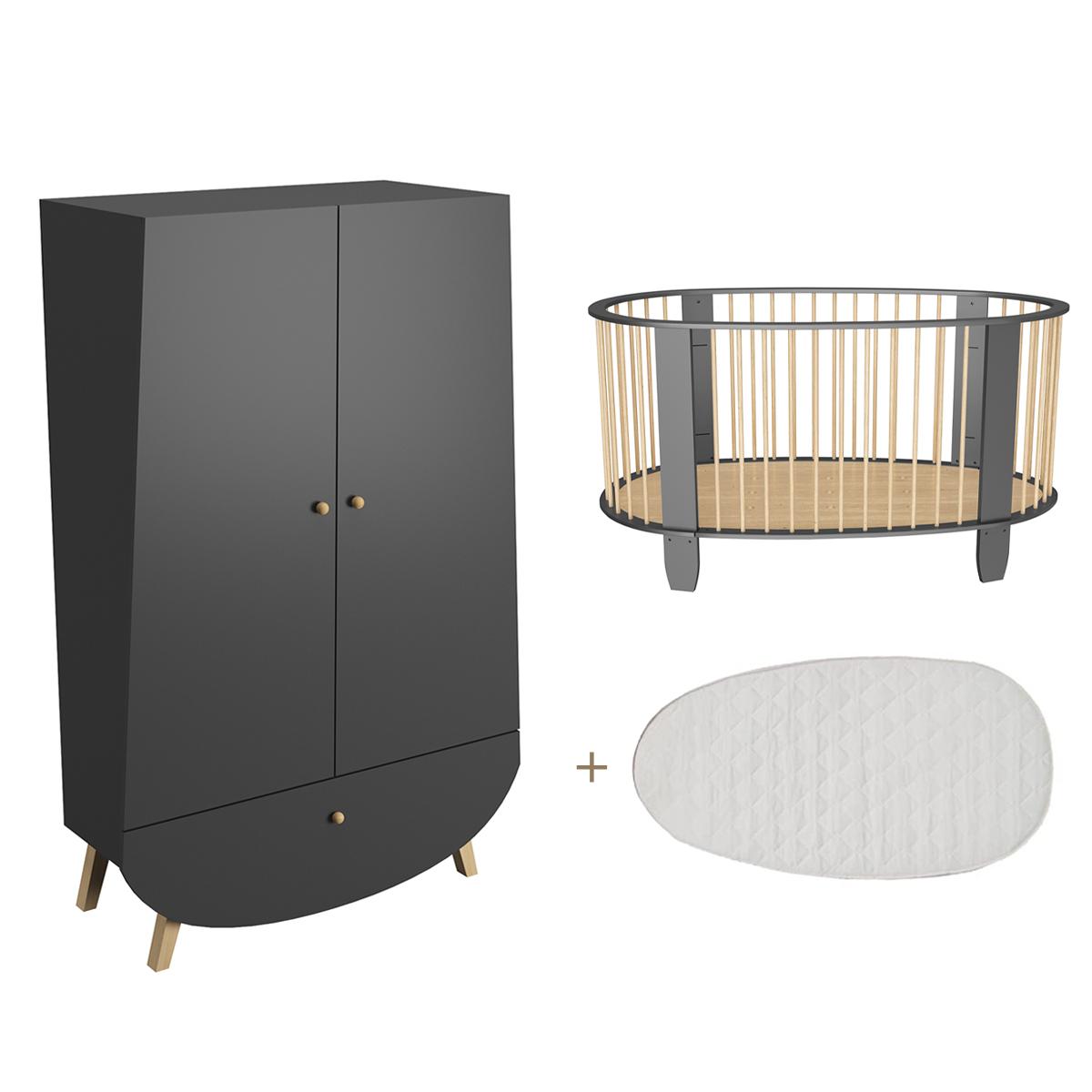 Lit bébé 60x120 et armoire Songes et Rigolades Cocon - Gris anthracite et bois