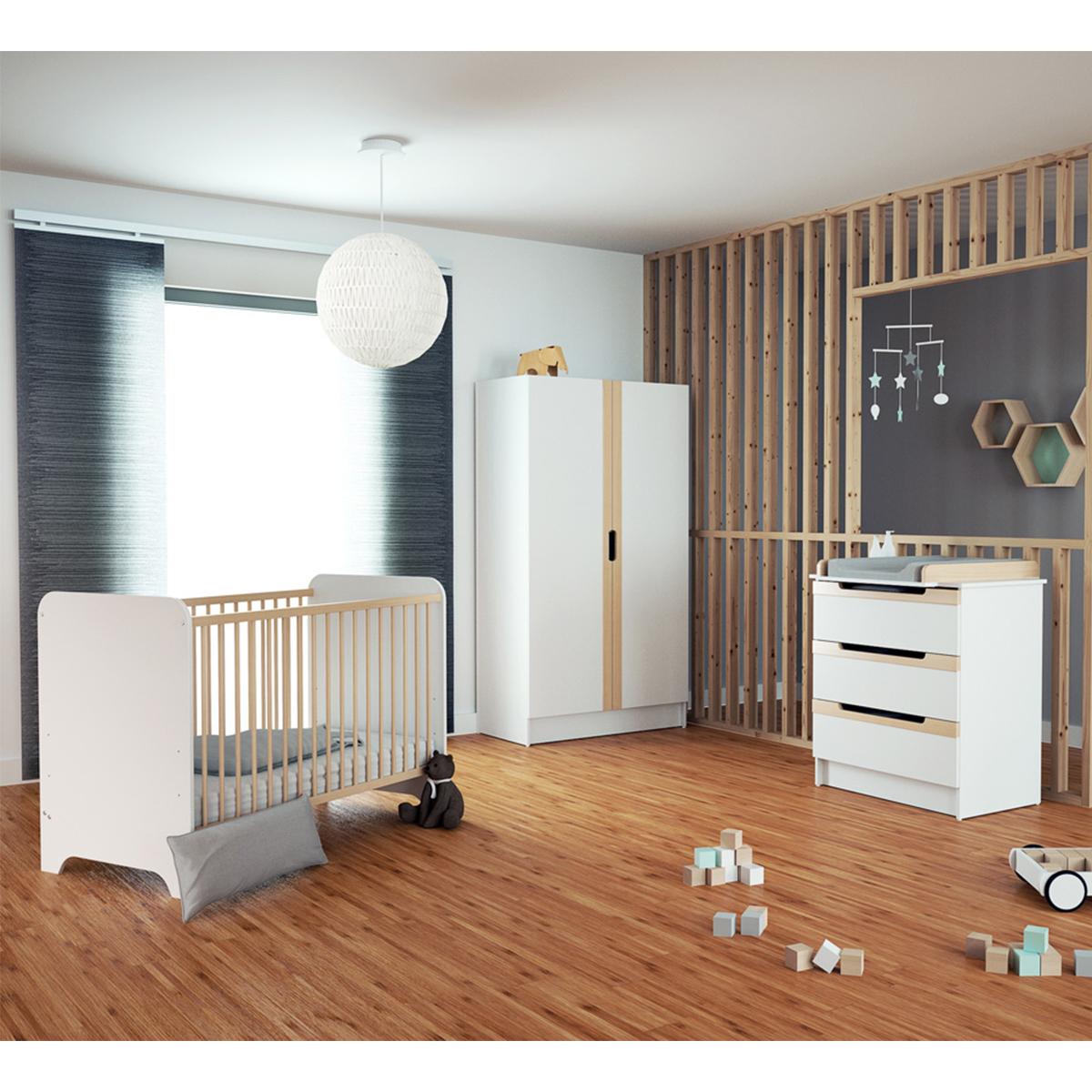 Chambre complète lit évolutif 70x140 commode à langer et armoire AT4 Carrousel - Blanc et hêtre