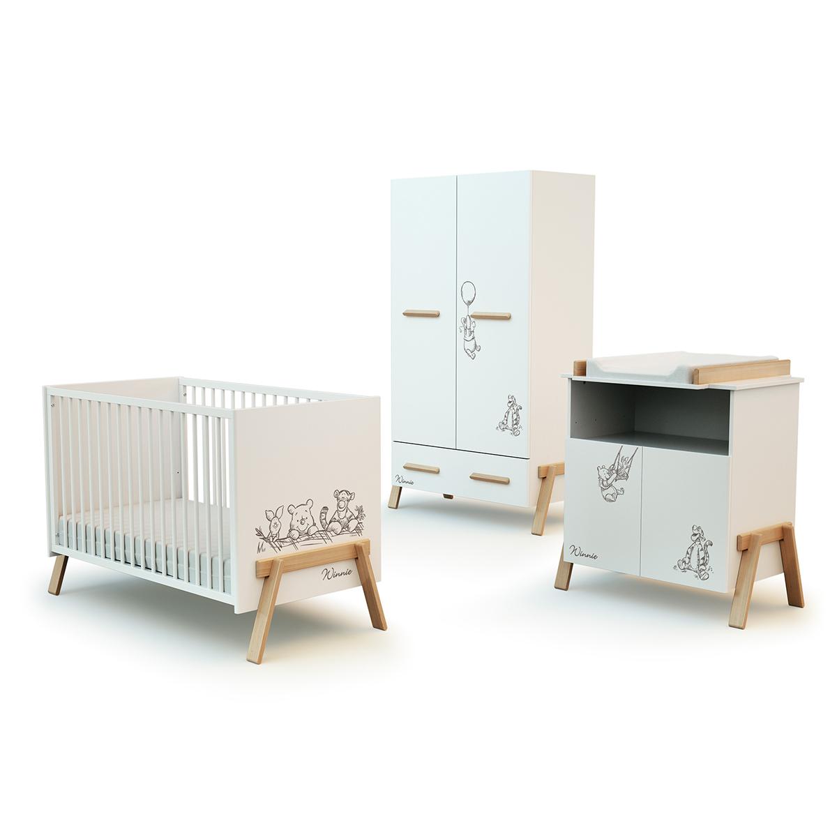 Chambre complète lit bébé 60x120 commode à langer et armoire AT4 Winnie Disney - Blanc et hêtre