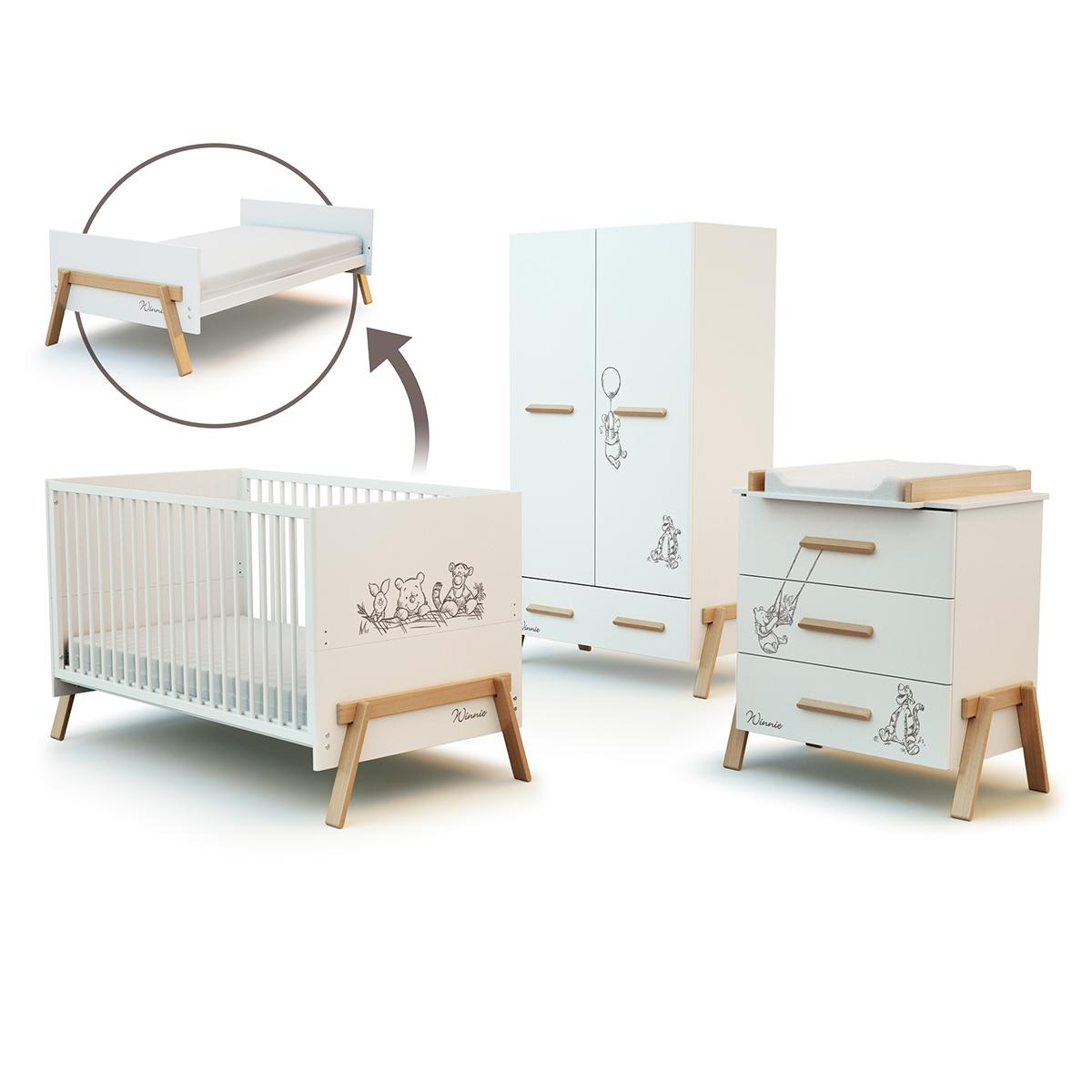 Chambre complète lit évolutif 70x140 commode à langer 3 tiroirs et armoire AT4 Winnie Disney - Blanc et hêtre