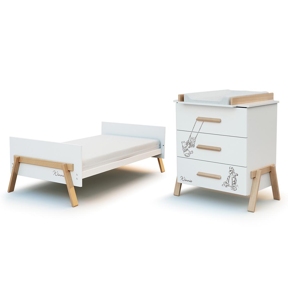 Lit évolutif 70x140 et commode 3 tiroirs avec plan à langer AT4 Winnie Disney - Blanc et hêtre