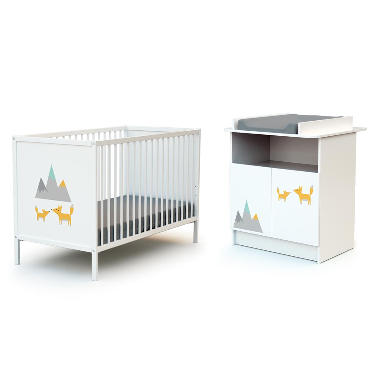 Lit bébé 60x120 et commode 2 portes avec plan à langer AT4 Webaby - Renard