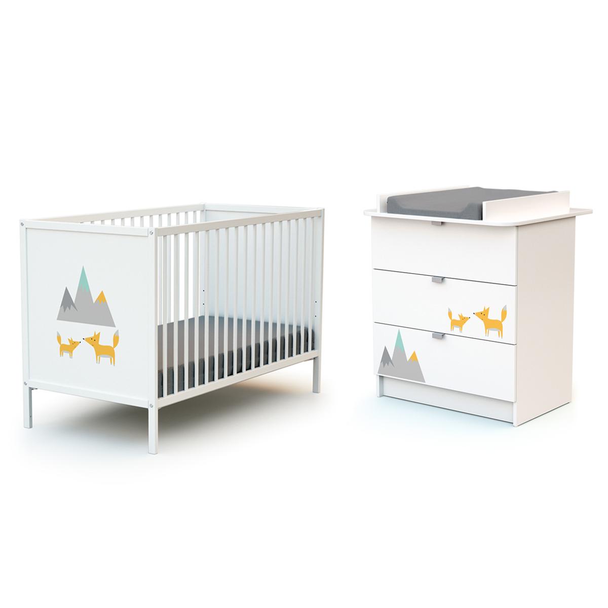 Lit bébé 60x120 et commode 3 tiroirs avec plan à langer AT4 Webaby - Renard