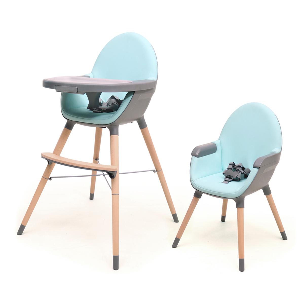 Chaise haute évolutive AT4 Essentiel - Bleu et gris