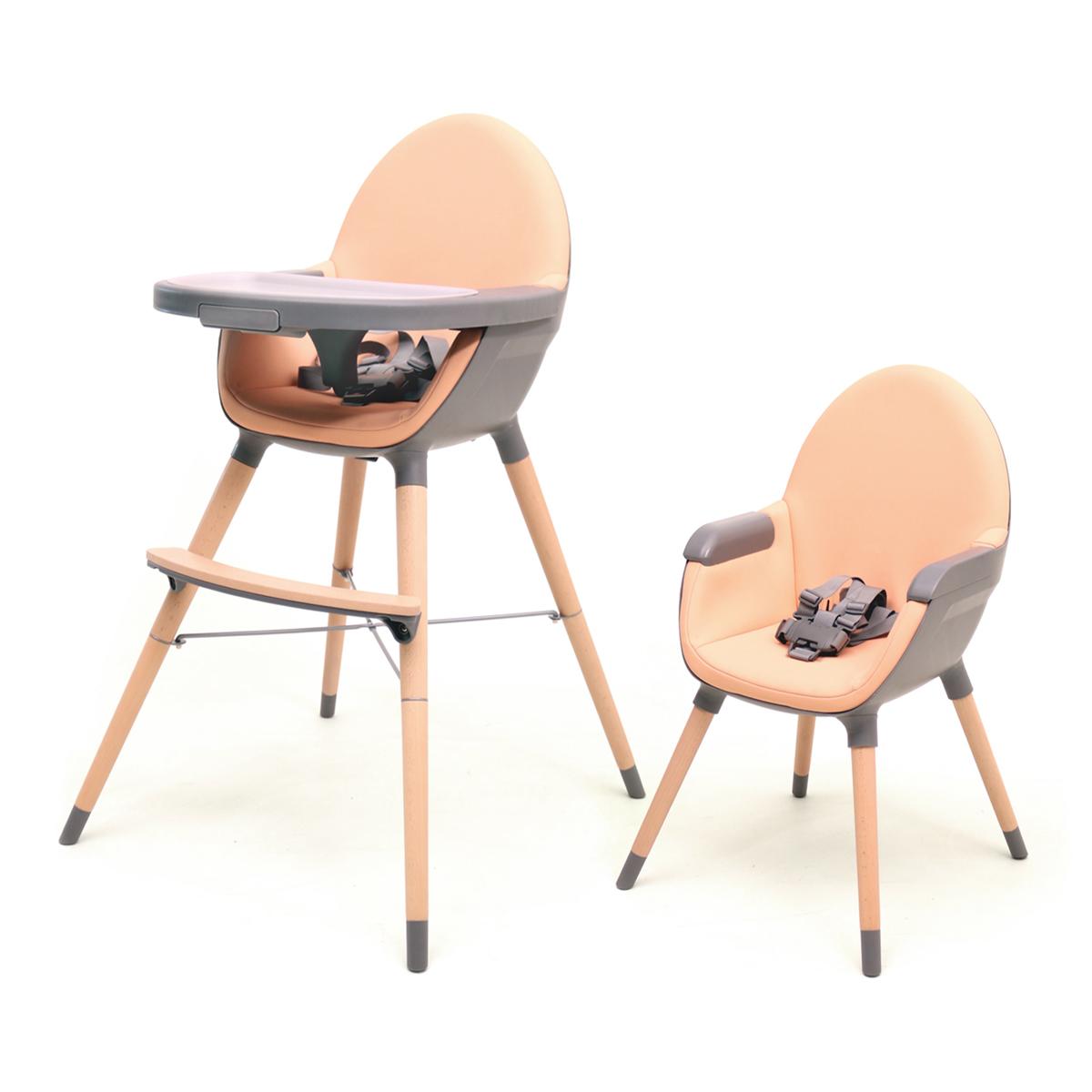 Chaise haute évolutive AT4 Essentiel - Pêche et gris