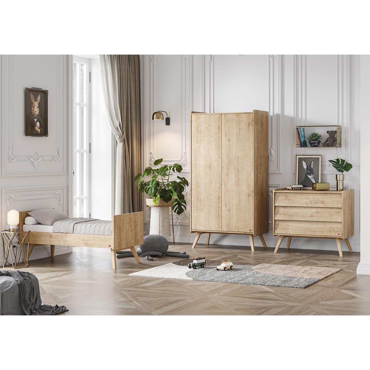 Chambre complète lit évolutif 70x140 - commode à langer - armoire 2 portes Vox Vintage - Bois