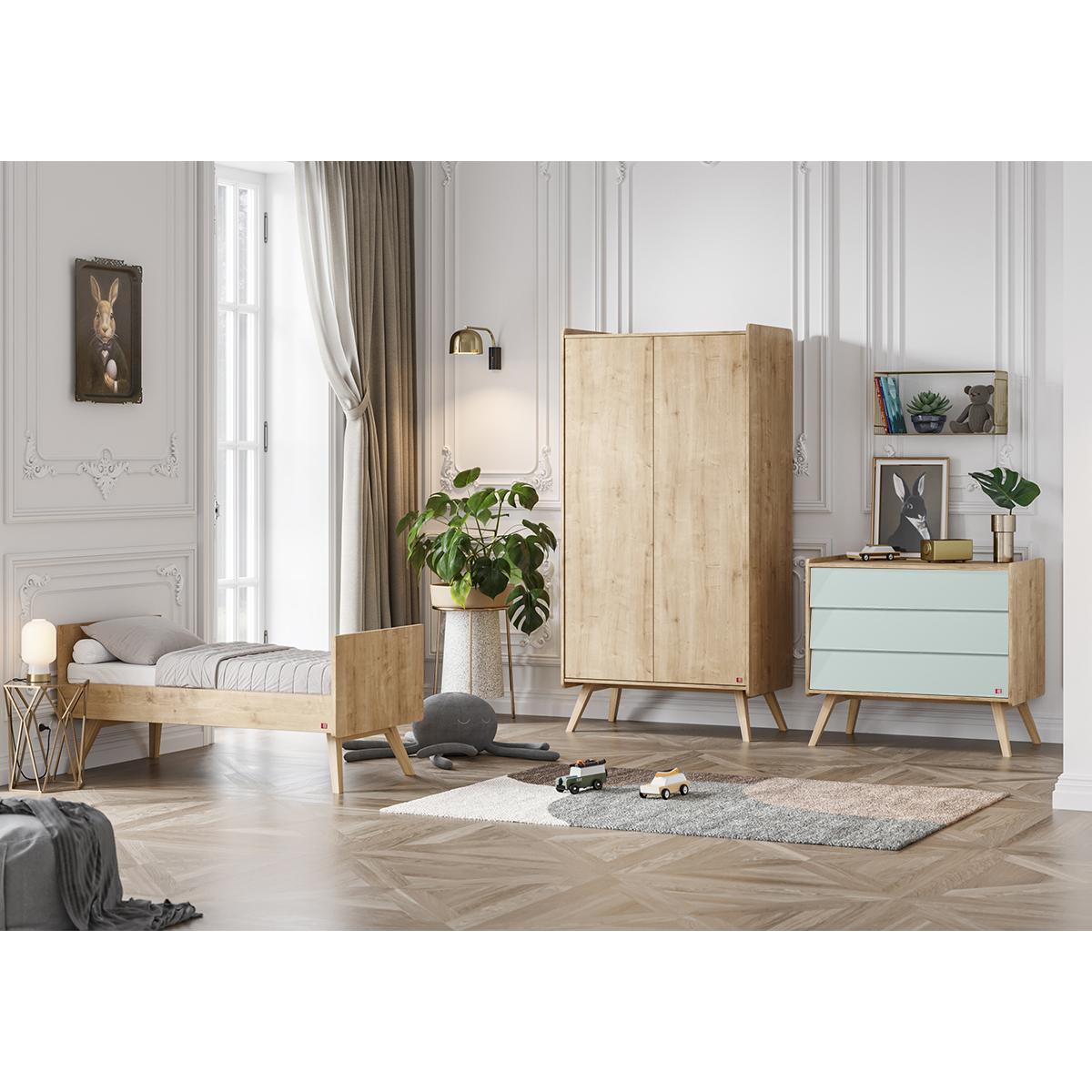 Chambre complète lit évolutif 70x140 - commode à langer - armoire 2 portes Vox Vintage - Bois Vert