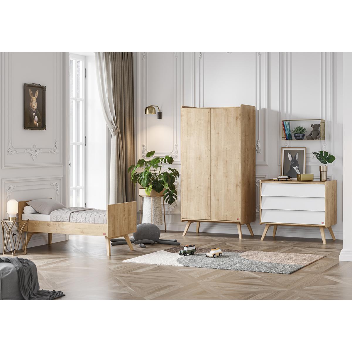 Chambre complète lit évolutif 70x140 - commode à langer - armoire 2 portes Vox Vintage - Bois Blanc