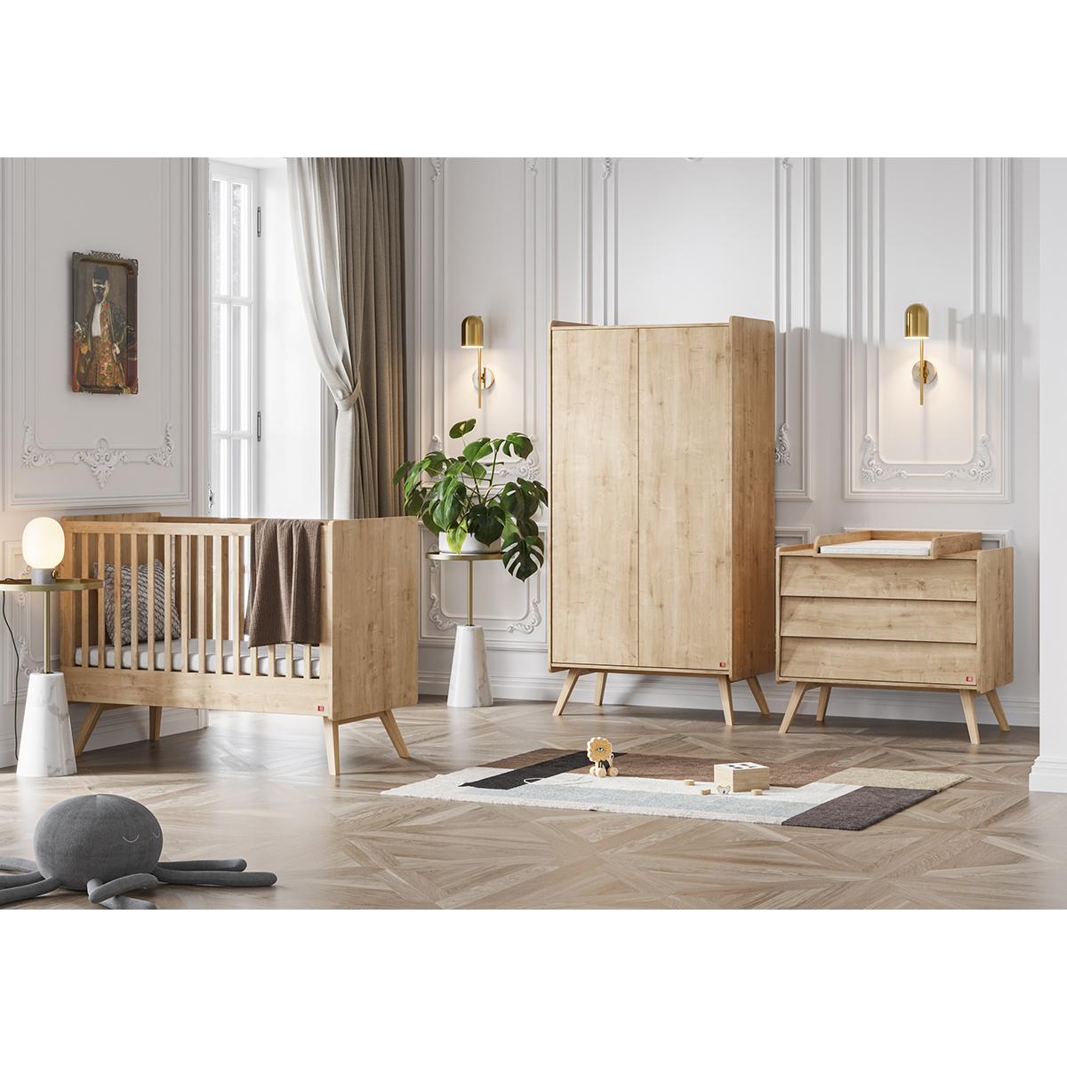 Chambre complète lit bébé 60x120 - commode à langer - armoire 2 portes Vox Vintage - Bois