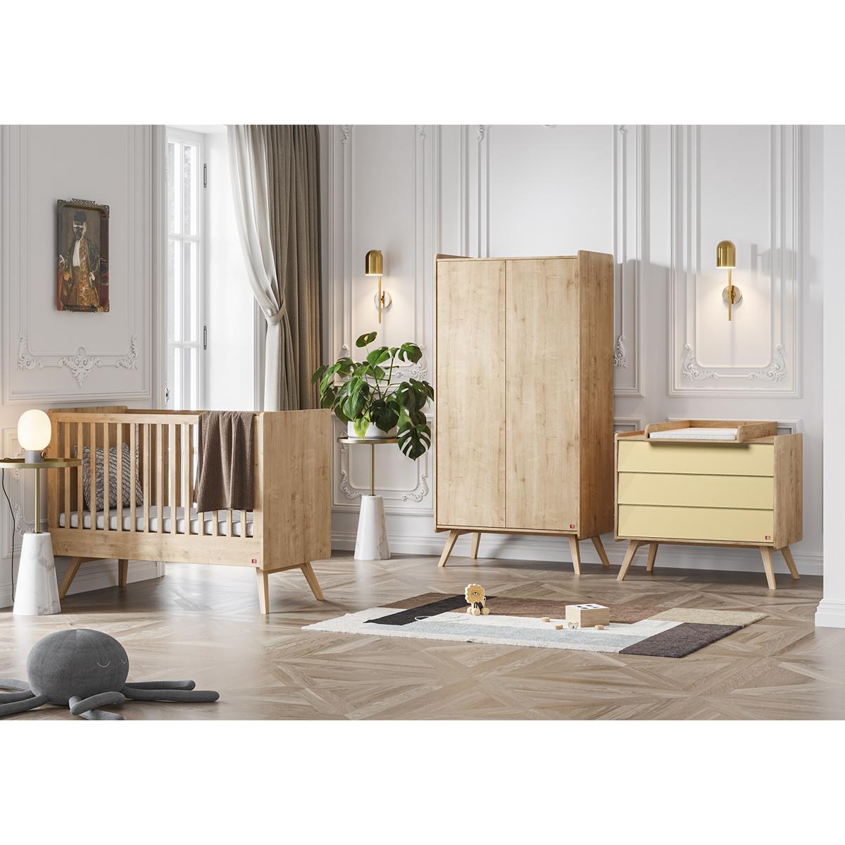 Chambre complète lit bébé 60x120 - commode à langer - armoire 2 portes Vox Vintage - Bois Beige