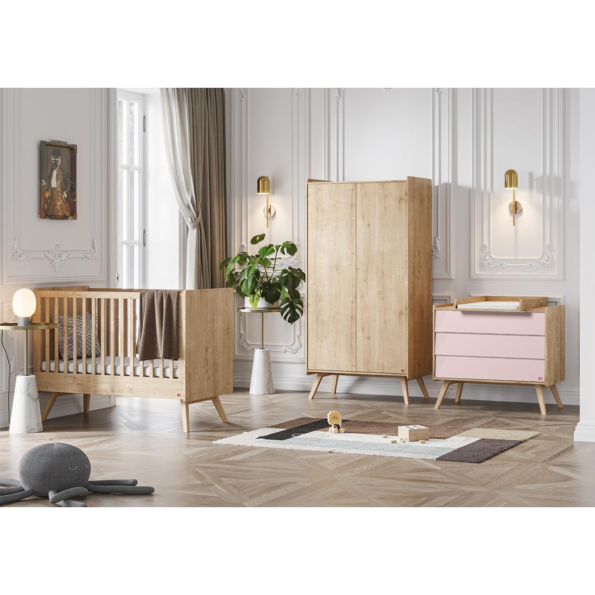 Chambre complète lit bébé 60x120 - commode à langer - armoire 2 portes Vox Vintage - Bois Rose