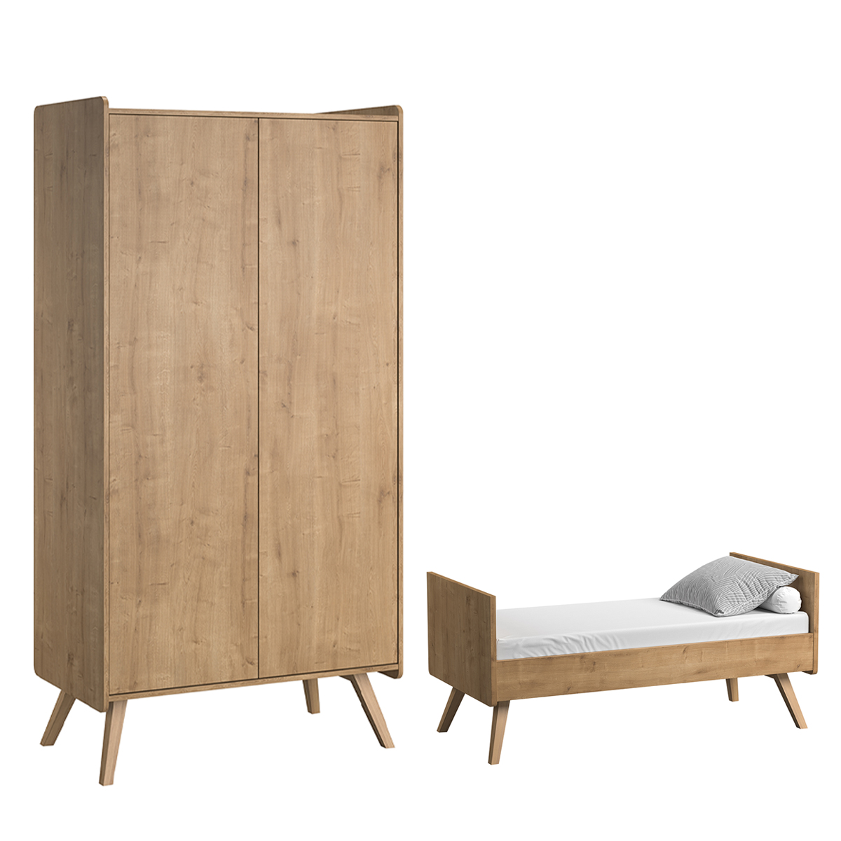 Lit évolutif 70x140 et armoire 2 portes Vox Vintage - Bois