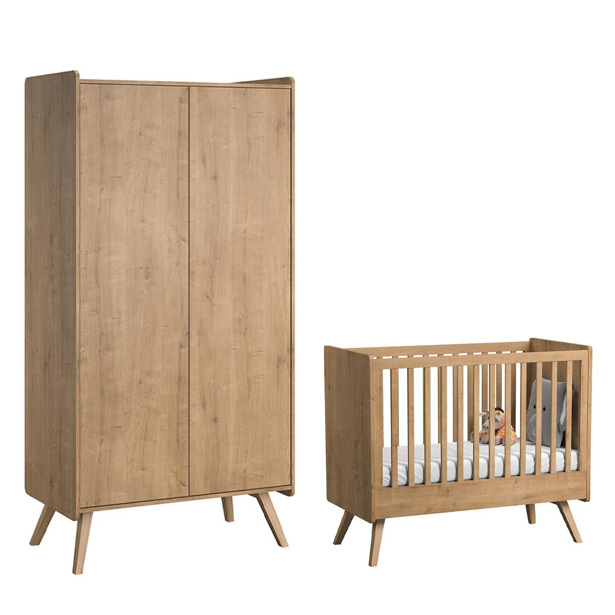 Lit bébé 60x120 et armoire 2 portes Vox Vintage - Bois