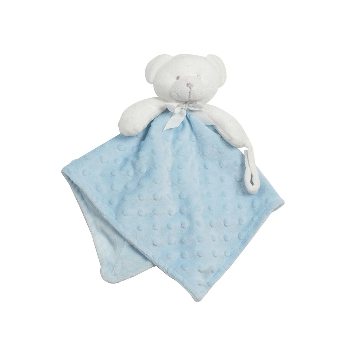 doudou pour b b king bear pois 3d avec attache sucette ours bleu accessoires doudou. Black Bedroom Furniture Sets. Home Design Ideas