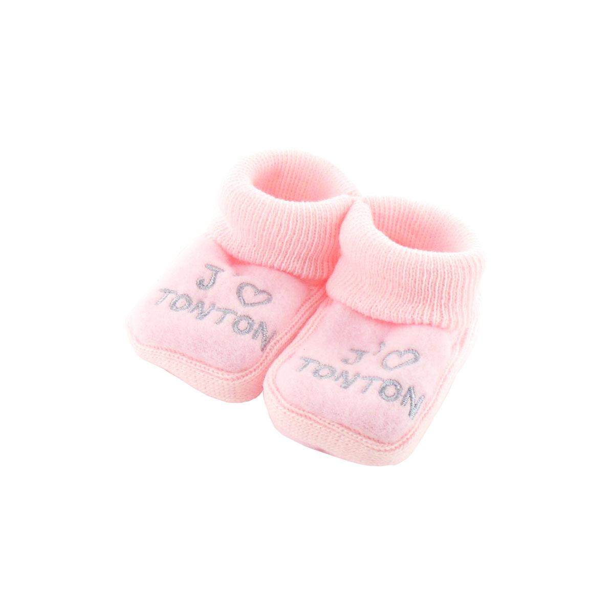 Chaussons pour bébé 0 à 3 Mois rose - J\'aime tonton