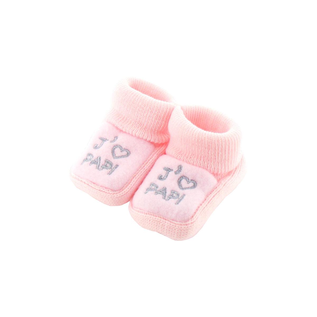 Chaussons pour bébé 0 à 3 Mois rose - J\'aime papi