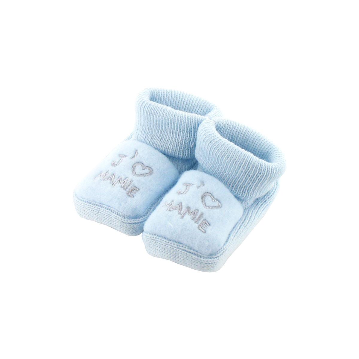fe383e82ac7a9 Chaussons pour bébé 0 à 3 Mois bleu - J aime mamie - Les chaussures  Chaussons - tendresse de bébé