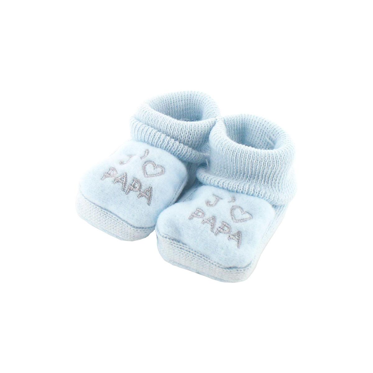 81b9894960416 Chaussons pour bébé 0 à 3 Mois bleu - J aime papa - Les chaussures Chaussons  - tendresse de bébé