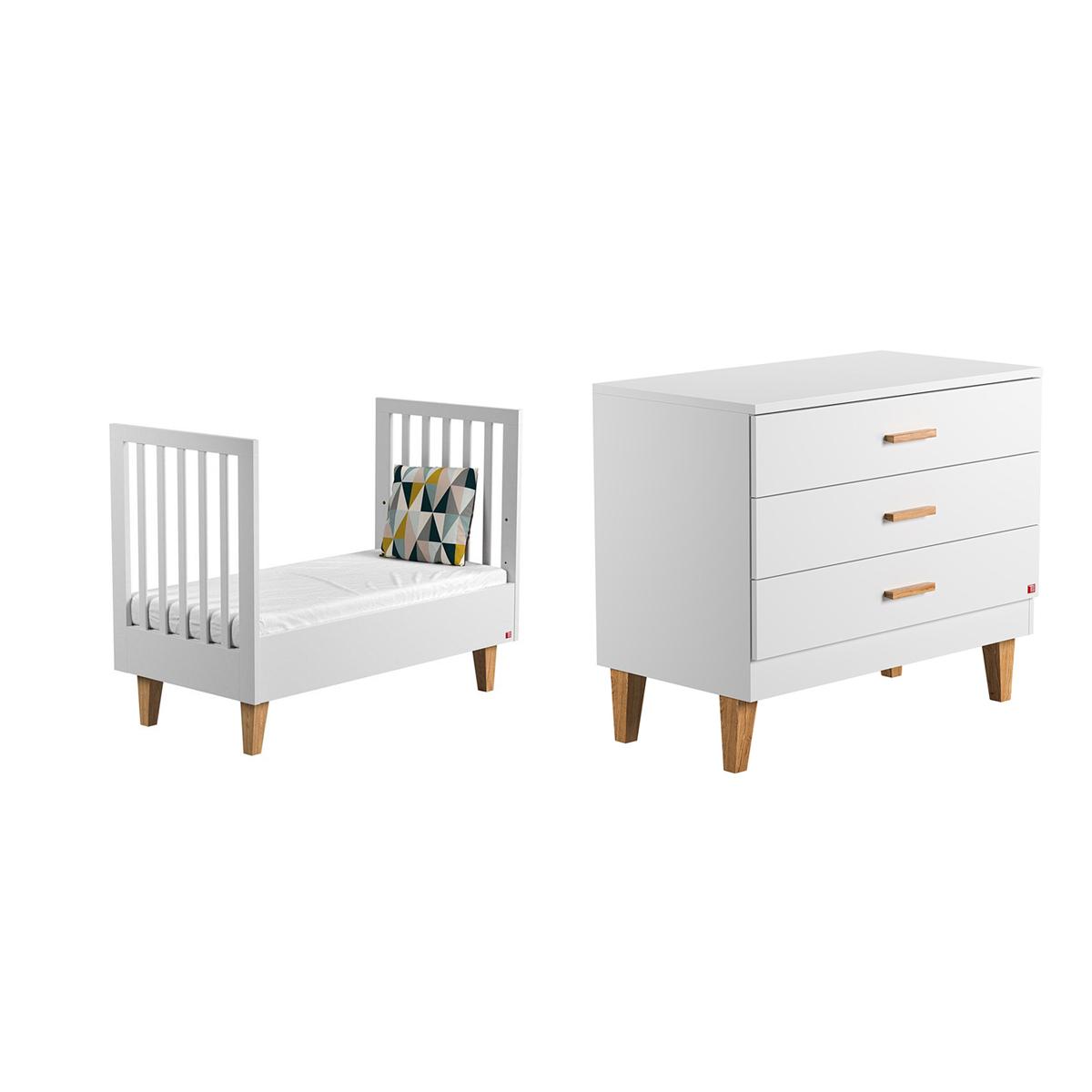 lit volutif 70x140 et commode langer vox lounge blanc. Black Bedroom Furniture Sets. Home Design Ideas