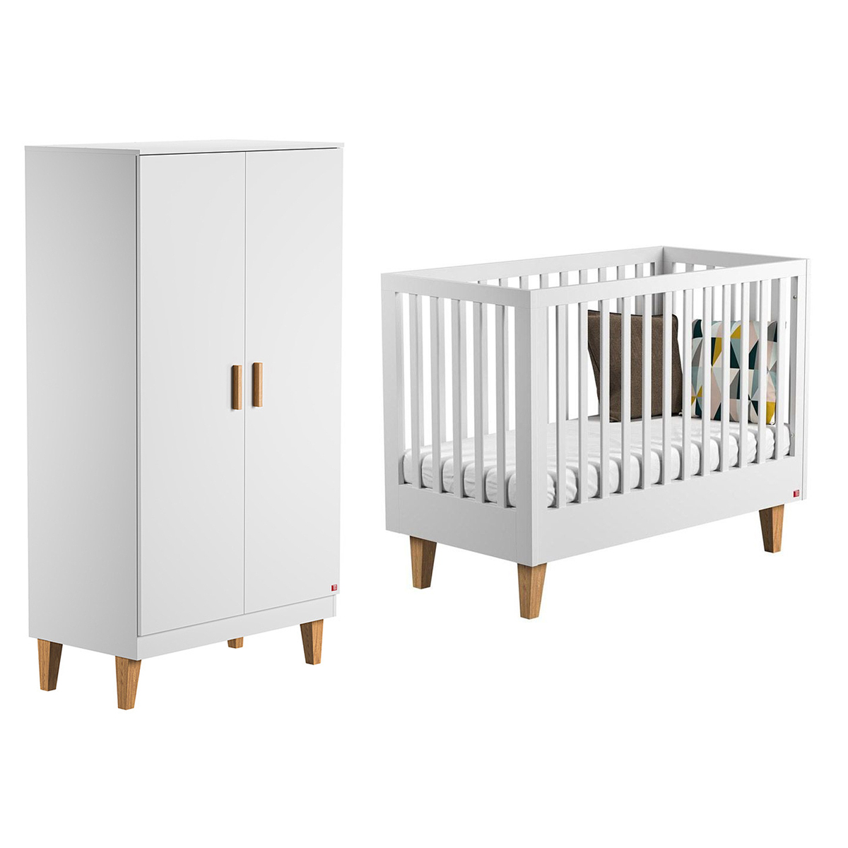 Lit bébé 60x120 et Armoire 2 portes Vox Lounge - Blanc