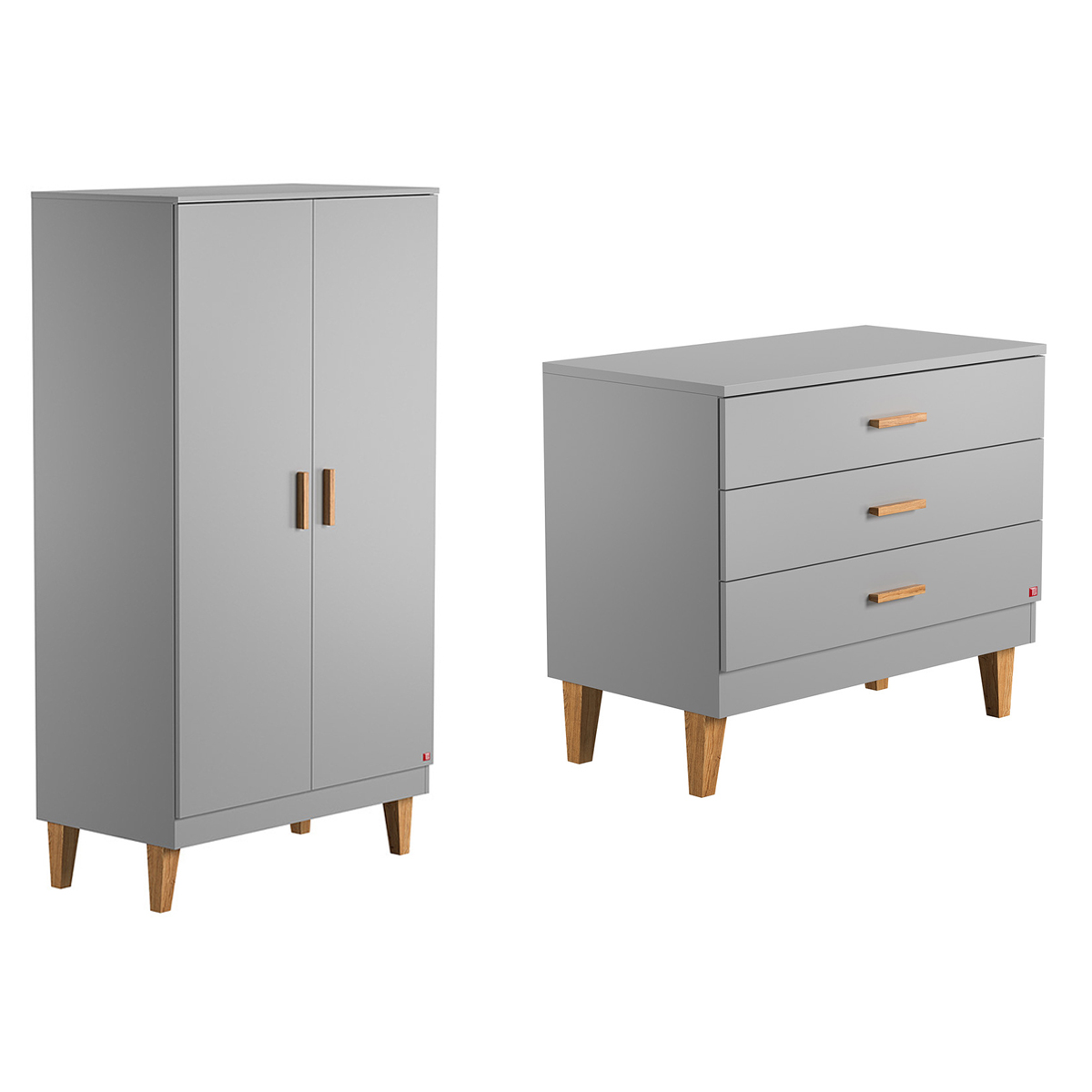 commode langer et armoire 2 portes vox lounge gris. Black Bedroom Furniture Sets. Home Design Ideas