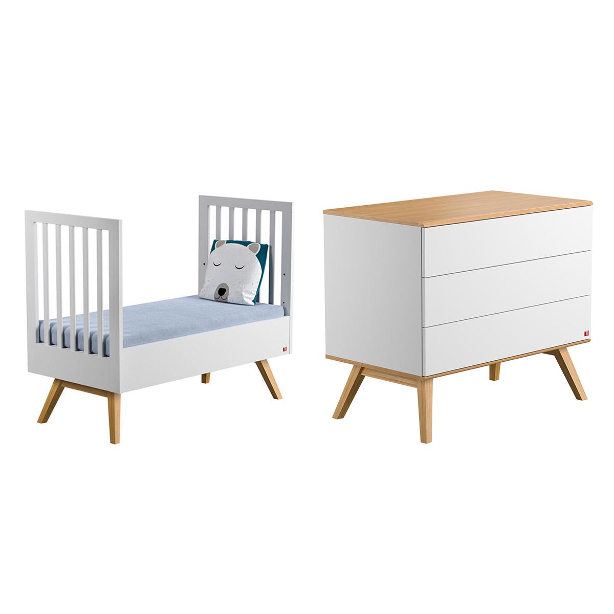 lit volutif 70x140 et commode langer vox nature blanc. Black Bedroom Furniture Sets. Home Design Ideas